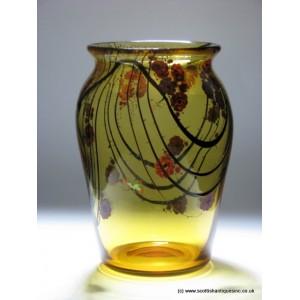 Enamelled Stuart Amber Glass Vase c1931