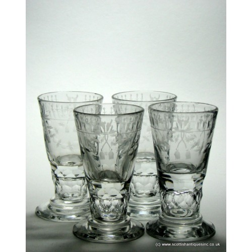SOLD - Four Engraved German Schnapps Glasses c1840