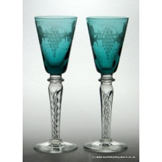 02d495cdd362 SOLD - Pair of Engraved Mercury Twist Teal Blue Wine Glasses