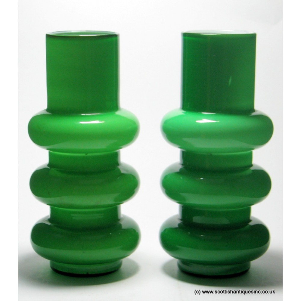 Sold pair of ryd hooped green cased glass vases reviewsmspy
