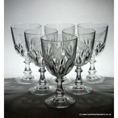 df1a854adb34 SOLD - Set of Six Engraved   Signed Wine Glasses