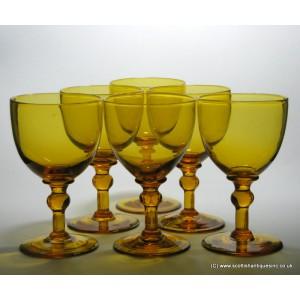 Six Georgian Style Amber Wine Glasses