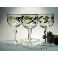 05196608215f SOLD - Four Hand Painted Wine Glasses c1950 (EBAY)