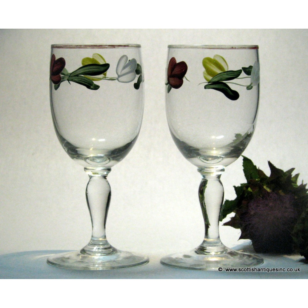 7e6a476498e7 SOLD - PAIR Hand Painted Port Glasses c1950 (EBAY)