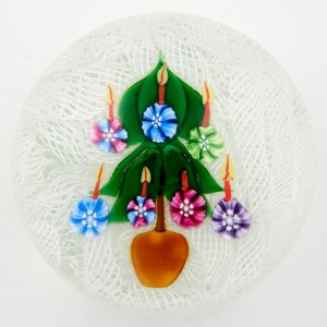 A John Deacons Christmas Tree And Candles Paperweight c2000