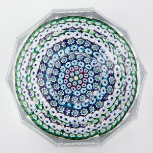 A Whitefriars Concentric Facet Cut Paperweight 1974