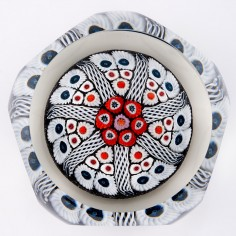 A Strathearn Concentric Radial Facet Cut Paperweight c1970