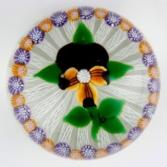 A John Deacons Pansy, Millefiori And Latticino Paperweight 1997