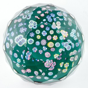 A Whitefriars Multifaceted Spaced Millefiori Paperweight 1980