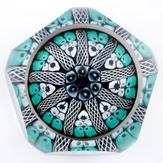 A Strathearn Facet Cut Concentric Radial Paperweight c1970