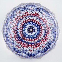 A Whitefriars Multi Facetted Concentric Millefiori Paperweight c1975