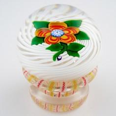 A John Deacons Lampwork Flower Piedouche Paperweight 2000's