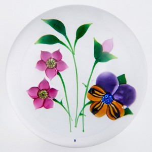 A Whitefriars  Allan Scott Colin Terris Lampwork  Pansy Paperweight c1985