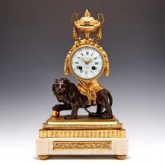 French Late 19th Century Bronze, Ormolu and Marble Mantel clock