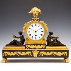 A Regency Bronze and Gilt Bronze Mantel Timepiece c1830