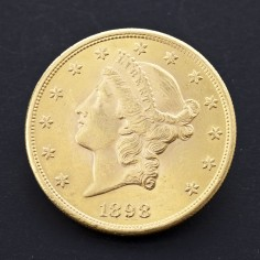 Uncirculated USA 1898 $20 Double Eagle Liberty Head Gold Coin