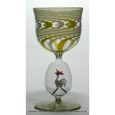 cd453d35c439 SOLD - Unusual Bimini Rooster Wine Glass c1925
