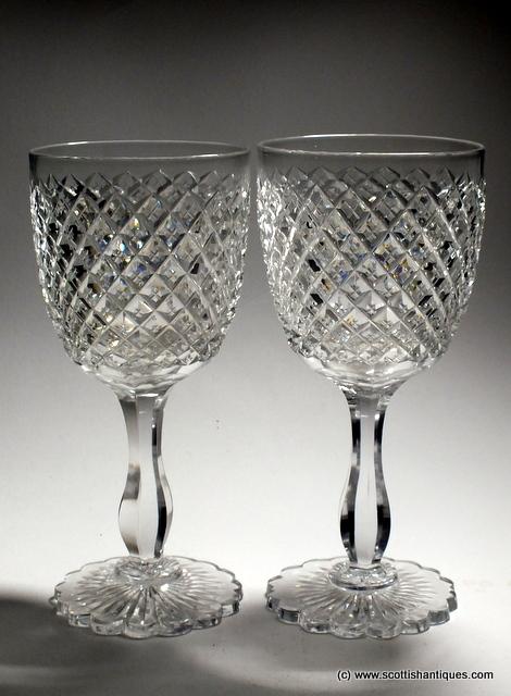 Pair Victorian Richardsons Red Wine Goblets C1880 Ebay